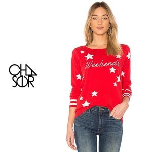 """Chaser """"'Weekends' Star Print Embroidered Sweater"""